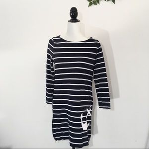 J. Crew Maritime Anchor Dress Navy White Striped